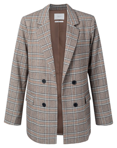 YAYA Tailored blazer with double-breasted look and checks, chocolate brown dessin