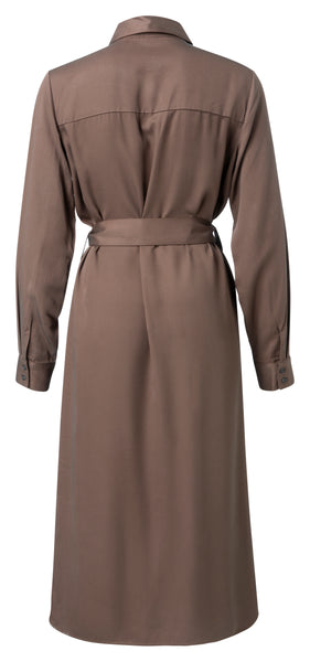 YAYA Belted Midi Dress, dark brown