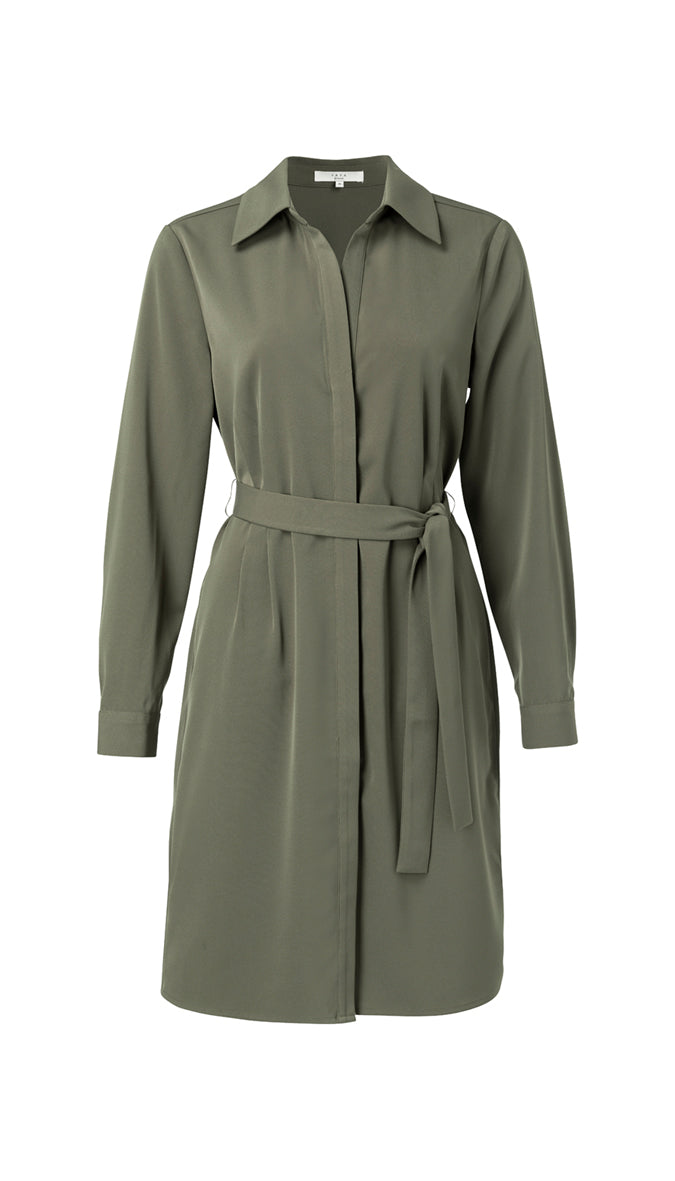 YAYA belted midi dress, olive