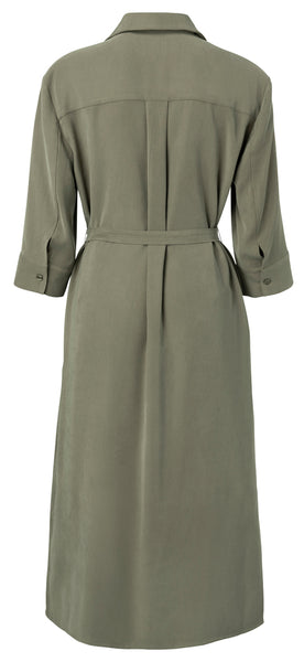 YAYA Belted midi Dress with splits, olive