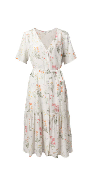 YAYA Flower Dress with Ruffles, multi