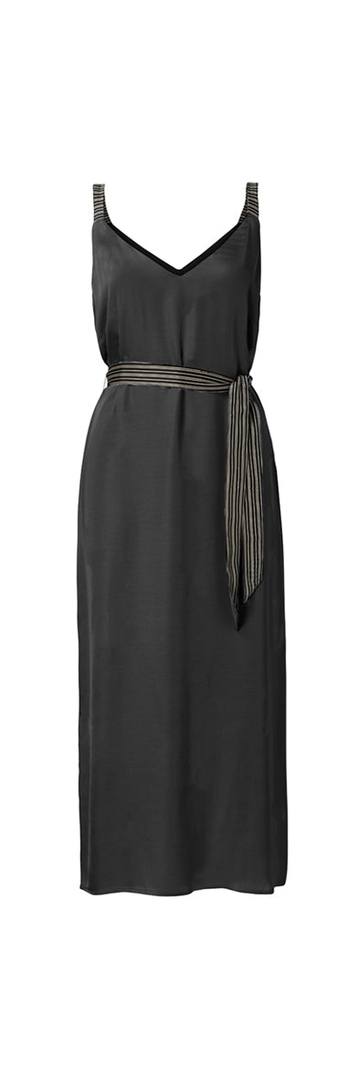 YAYA Satin Maxi Dress, black