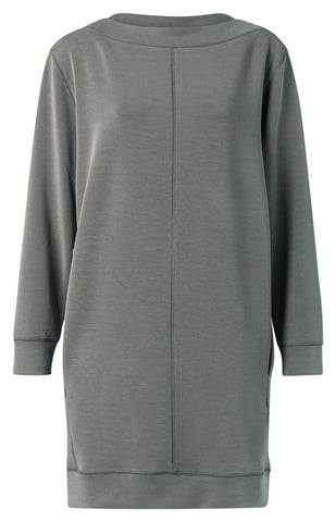 YAYA Modal blend boat neck dress with stitch details, steel grey