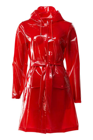 RAINS Transparent Belt Jacket, red