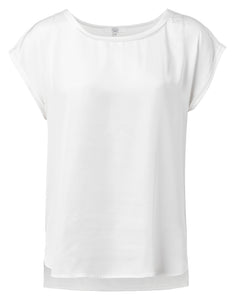 YAYA Fabric mix Top, white