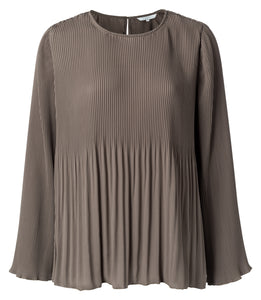 YAYA Blouse with pleats, chocolate
