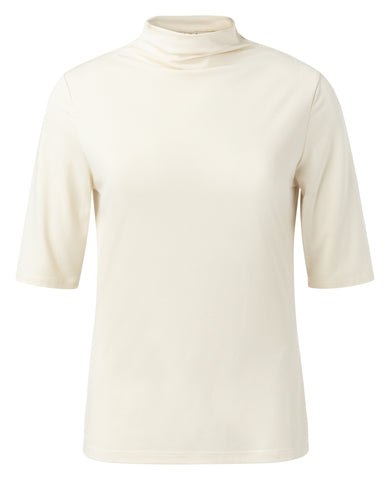 YAYA Mock neck top with half sleeves, cream