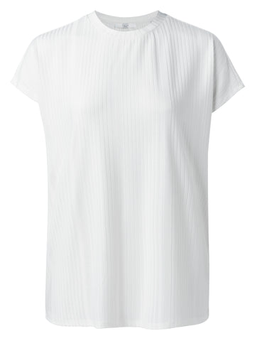 YAYA Rib Tshirt with cap sleeves, white