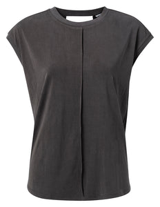 YAYA Modal Top with cap Sleeves, dark grey