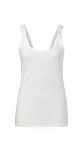 YAYA Cotton Singlet, white