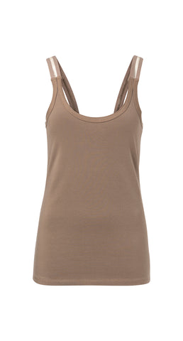 YAYA Cotton Singlet, olive