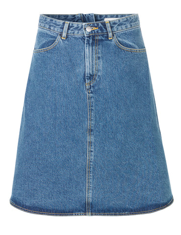 MADS NORGAARD Worn Denim Skirt, blue