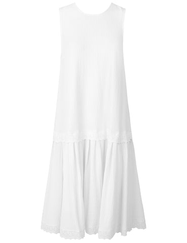 MADS NORGAARD Seersrucker Viscose Dress, white