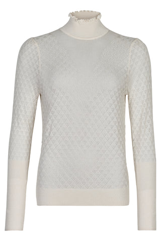 NÜMPH Nuebelle high neck Sweater, white