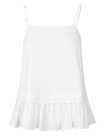 MADS NORGAARD Seersucker Viscose Top, white