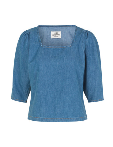 MADS NORGAARD light Indgo Denim Blouse, mid blue