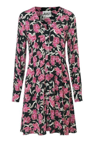 JUST FEMALE Alda Flower Dress, black - pink