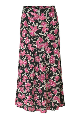 JUST FEMALE Alda Maxi Skirt, black - pink