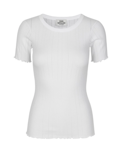 MADS NORGAARD ribbed T-shirt, white