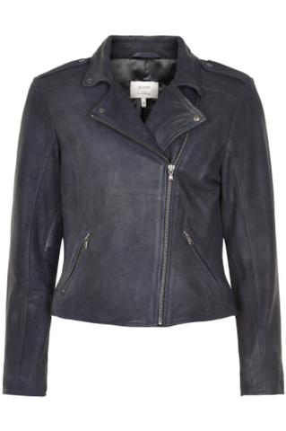 NÜMPH Leather Jacket, dark blue