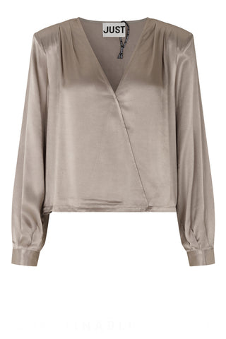 JUST FEMALE Delta Satin Bluse, taupe