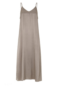 JUST FEMALE Delta Slip Midi Kleid, taupe