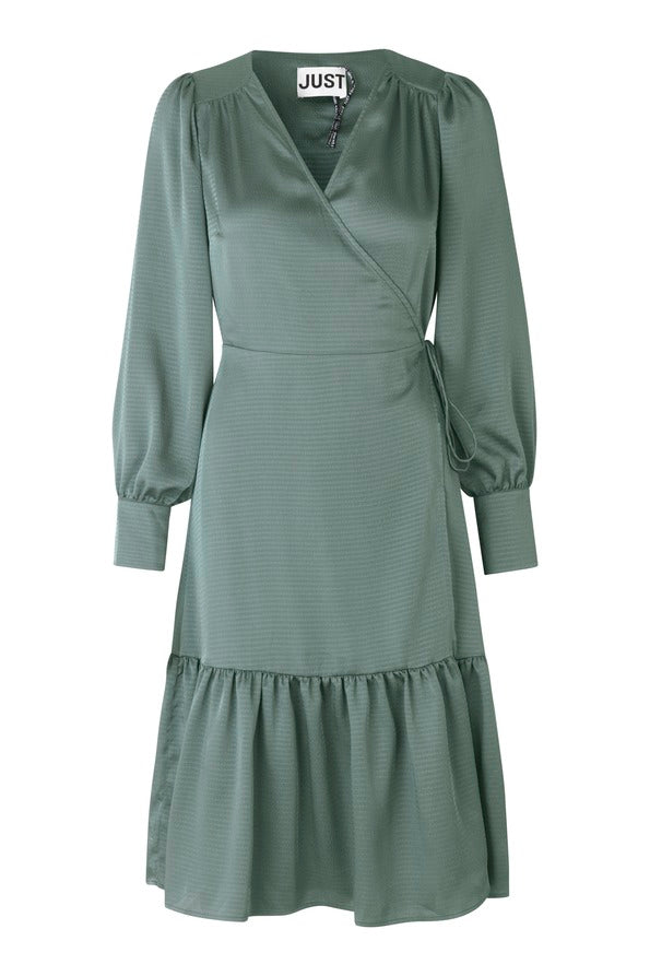 JUST FEMALE Minnie Wrap Dress, balsam green