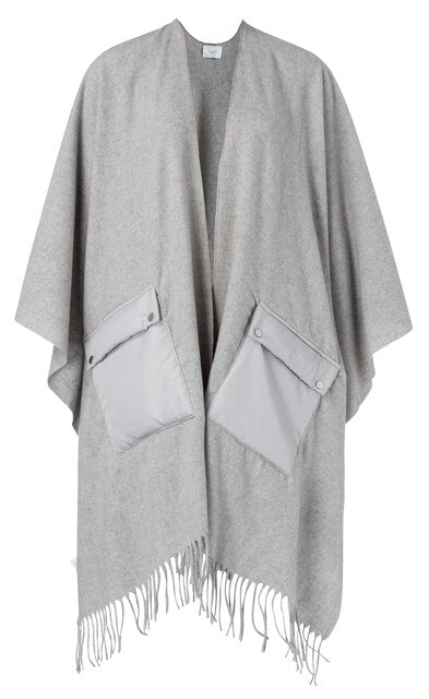 YAYA Poncho with utility pockets, grey