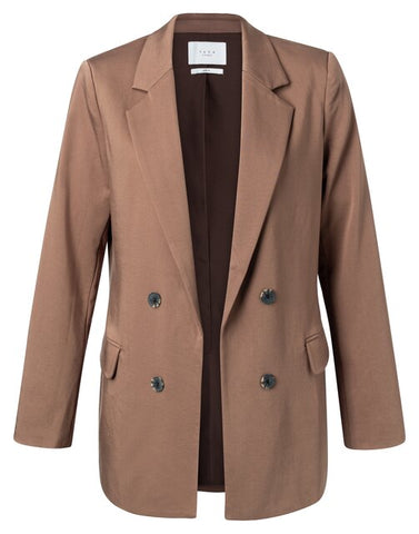 YAYA Tailored Blazer with double-breasted look, brown