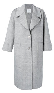 YAYA Wool blend oversized coat with 7/8 sleeves and checks, light grey