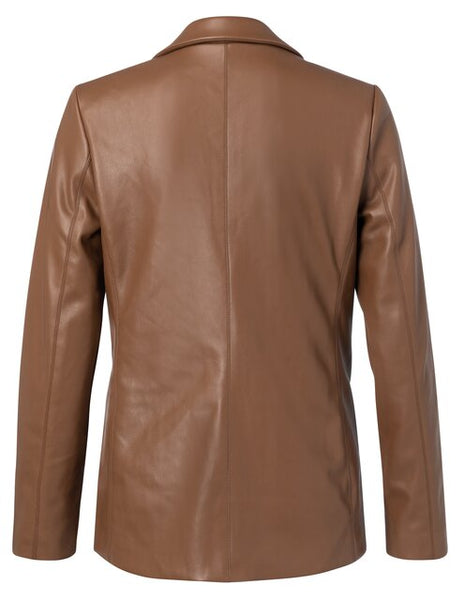 YAYA Faux leather Jacket with pockets, brown