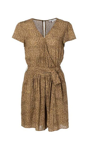 YAYA Belted Playsuit with leo print, brown