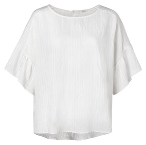 YAYA Crinkled Top with ruffles, white