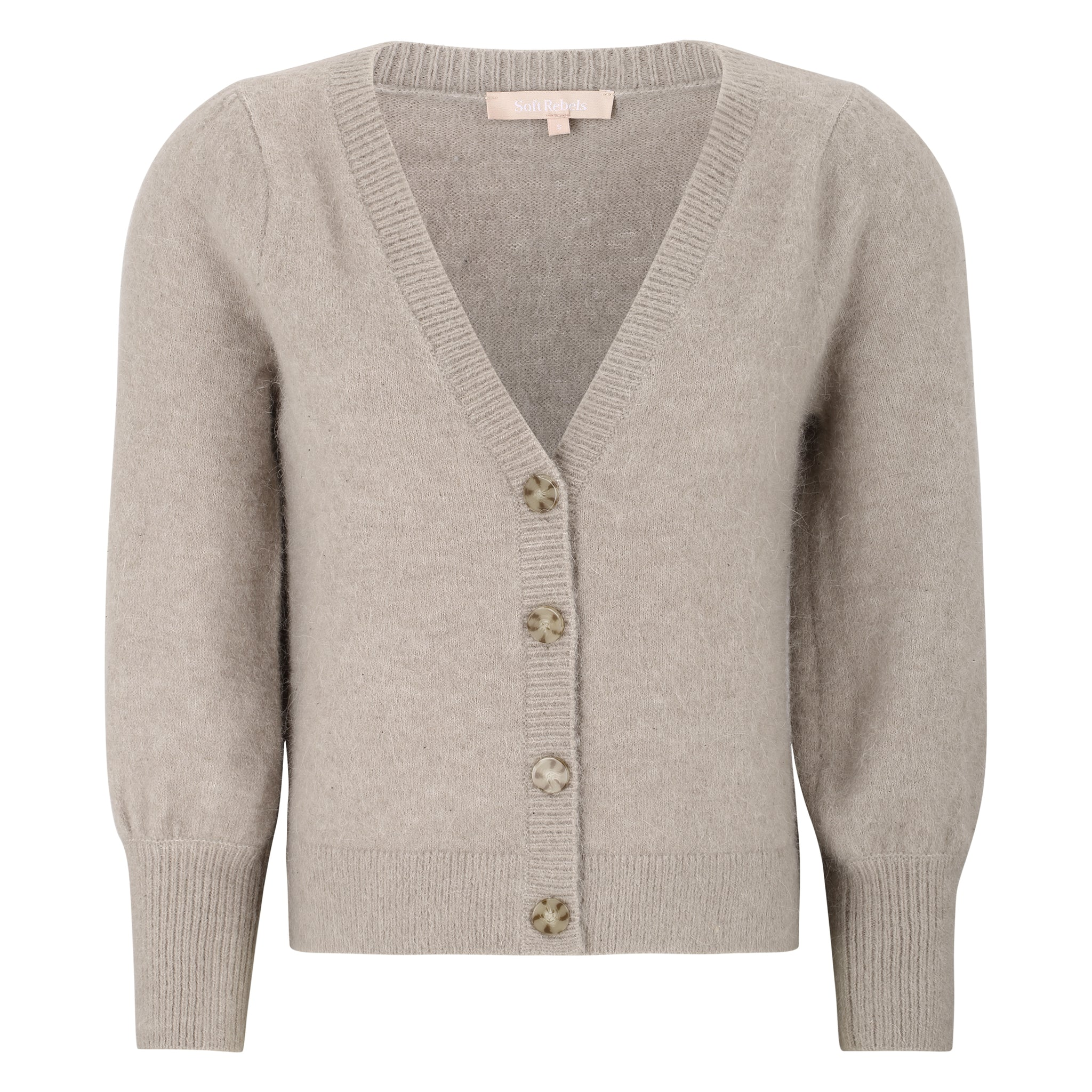 Soft Rebels Liva 3/4 Cardigan, grau / braun