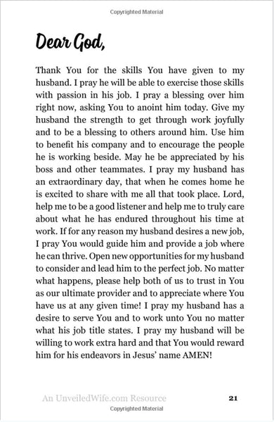Thirty-One Prayers For My Husband: Seeing God Move In His Heart – Unveiled Wife Online Book Store
