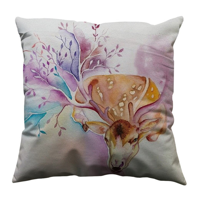 Animal Watercolor Print Pillow Cover