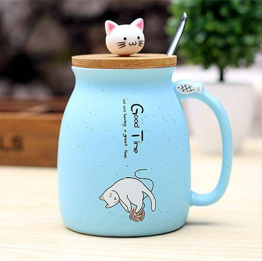 Good Time Ceramic Cat Mug With Lid and Spoon