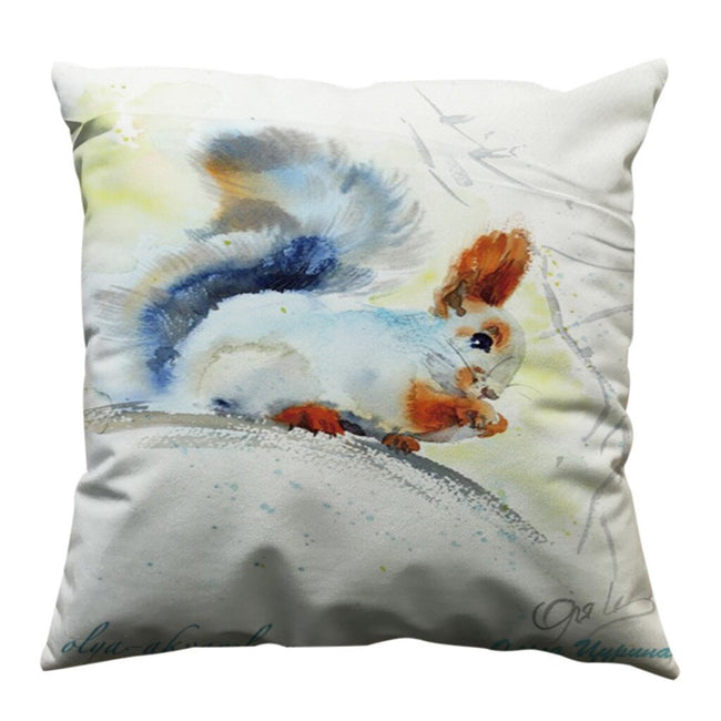"Squirrel or Cow Watercolor Pillow Cover 18""x18"""