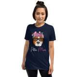 Floral Brown Pittie Mom T-Shirt