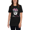 Flower Crown Gray Pittie Mom T-Shirt