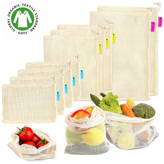 Eco-Friendly 100% Cotton Reusable Mesh Produce Bags