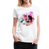 Cat Pink Splatter Women's Premium T-Shirt - white