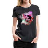 Cat Pink Splatter Women's Premium T-Shirt - black