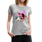 Cat Pink Splatter Women's Premium T-Shirt - heather gray