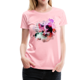 Cat Pink Splatter Women's Premium T-Shirt - pink
