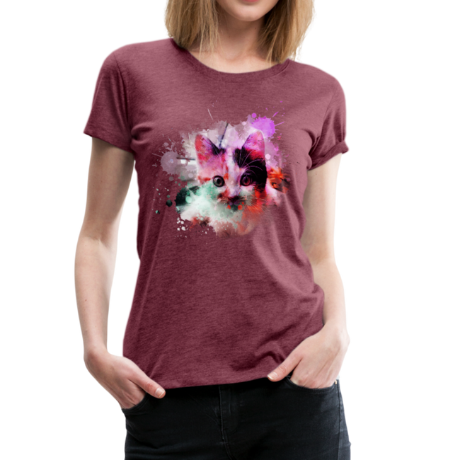 Cat Pink Splatter Women's Premium T-Shirt - heather burgundy
