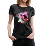 Cat Pink Splatter Women's Premium T-Shirt - charcoal gray