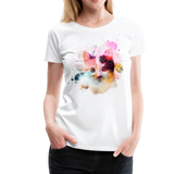 Women's Cat Yellow Splatter Premium T-Shirt - white