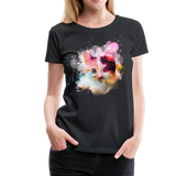 Women's Cat Yellow Splatter Premium T-Shirt - black