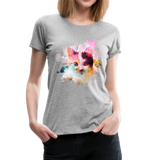 Women's Cat Yellow Splatter Premium T-Shirt - heather gray